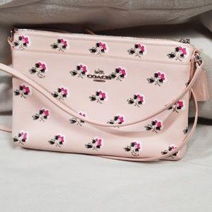 Coach Pink Floral Crossbody Purse Bag
